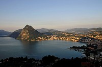 Lugano with San Salvatore mountain on Lago di Lugano, Lake Lugano, Canton of Ticino, Switzerland, Europe