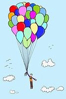 Boy floating with balloons, illustration