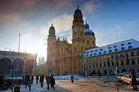 Theatine Church on Odeonsplatz square in winter, Munich, Bavaria, Germany, Europe, PublicGround