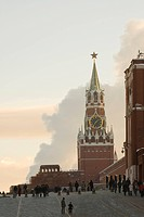 Spasskaya Tower, Saviour Tower, of Moscow Kremlin, and Red Square, Moscow, Russia
