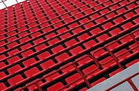 Image of red seats rows somewhere on stadium or stage