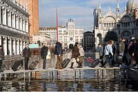 Italy, Venice, Saint Mark´s Square, High Tide.                                                                                                        ...