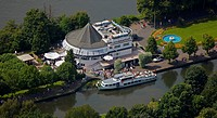 Aerial view, Ruhr river and water station, passenger ships, excursion boat, Speldorf, Muelheim an der Ruhr, Ruhrgebiet region, North Rhine-Westphalia,...