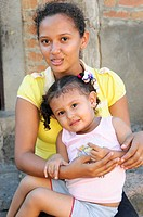Young woman with child, Leon, Nicaragua, Central America