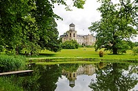 Lake and Schloss Kaarz hotel with neo-classical landscape park, Mecklenburg-Western Pomerania, Germany, Europe
