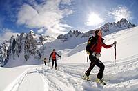 Ski touring, Mt. Sextner Stein, Sexten, Hochpustertal valley, South Tyrol, Italy, Europe