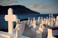 Cemetery of Pigadia, island of Karpathos, Aegean Islands, Aegean Sea, Greece, Europe