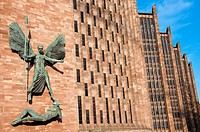 St Michael's Victory over the Devil, sculpture by Sir Jacob Epstein at St Michael's or Coventry Cathedral, England