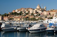 Port in front of historic town, Porto Maurizio, Imperia, Riviera, Liguria, Italy, Europe