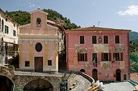 Parish church and town hall in the Piazza, mountain village of Apricale, Riviera, Liguria, Italy, Europe