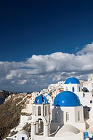 Greek Othodox Church with bell tower, Oia, Santorini, Greece