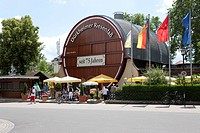 The giant barrel of Bad Duerkheim, the biggest wine barrel in the world, Bad Duerkheim, Rhineland-Palatinate, Germany, Europe