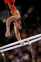 Matthias Fahrig, GER, on the parallel bars, EnBW Gymnastics World Cup 2009, Porsche-Arena stadium, Stuttgart, Baden-Wuerttemberg, Germany, Europe