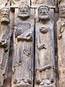 Apostle sculptures. Romanesque door of the Church of San Miguel Arcangel. Estella (Lizarra). Navarre, Spain