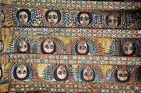 Famous painted ceiling in the Debre Berhan Salassie Church, UNESCO World Heritage Site, Gonder, Gondar, Amhara, Ethiopia, Africa