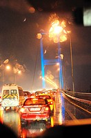 Italy, Turkey, Bosporus Bridge at night