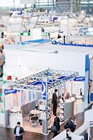 Exhibition booths from the pharmaceutical industry in exhibition hall 6 at the Medica _ International Trade Fair & Congress for Medicine in Duesseldor...