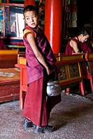 Buddhist student at the Gandantegchinlen Khiid monastery, Ulaan Bataar, Mongolia