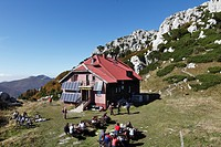 Mountain lodge at the Veliki Risnjak peak, Risnjak National Park, Gorski Kotar region, Croatia, Europe