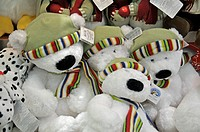 Teddy beats wearing winter attire for sale at Sheikh Rashid Terminal, Dubai International Airport, Dubai, United Arab Emirates, Asia