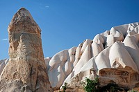 Tuff rock formations in Guellue Dere near Goereme, Cappadocia, Anatolia, Turkey