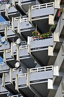 High_rise apartment building with balconies and satellite dishes, satellite town of Chorweiler in Cologne, North Rhine_Westphalia, Germany, Europe