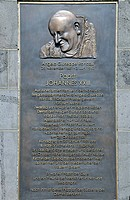Bronze relief of Pope John XXIII., Roncalliplatz square on the south side of the Koelner Dom Cologne Cathedral, Cologne, North Rhine-Westphalia, Germa...