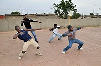 Street dance group training in the loveLife Youth Centre, slum, Orangefarm Township, Johannesburg, South Africa, Africa