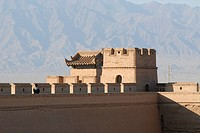 Tower of the Jiayuguan fortress at the western end of the Great Wall, Silk Road, Gansu, China, Asia