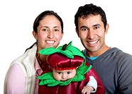 Couple with a cute baby disguised isolated on white