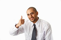 Torso of a handsome African Hispanic business man in white shirt and gray tie and thumb up, isolated