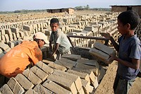 Children work at brickyard in Sylhet Bangladesh March 2010