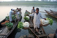 Fresh vegetables are collected by boat at Tuker Bazar wholesale market for sale Sylhet, Bangladesh February, 2010