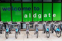 Welcome to Aldgate sign and Barclays Cycling Scheme Bicycles, Aldgate, London, England, Uk