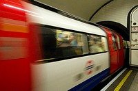 Crowded tube train, London UK  London Underground Tube filmed under film permit issued by Kate Reston London Underground Film Office October 2010