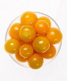 Bowl of Yellow Cherry Tomatoes from Above