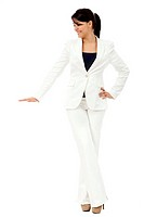 Business woman displaying something imaginary _ isolated over a white background