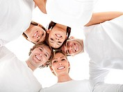 Group of friends hugging in a circle _ isolated over a white background