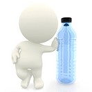 3D man leaning on a bottle isolated over a white background