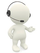 3D customer support operator with a headset _ isolated over white.