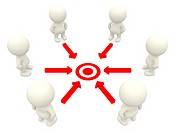 Group of 3D people working towards a common target _ isolated