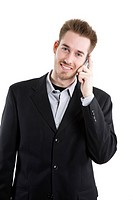 An isolated shot of a caucasian businessman calling on the phone