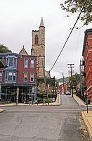 View on St  Mark Episcopal Church from street, Jim Thorpe, Mauch Chunk, Pocono, Pennsylvania, USA