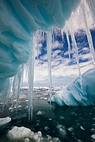 Iceberg with icicles, Penola Strait, Antarctic Peninsula