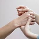 Chinese medicine oriental medicine/ hand applying accupunture
