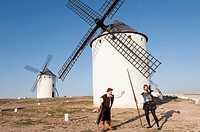 Don quijote and sancho panza in the Windmills of campo de criptana, ciuidad real province, castile la mancha, spain