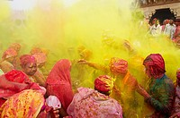 India, Uttar Pradesh, Holi festival, color and spring festival, celebrate the love between Krishna and Radha
