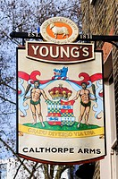 Calthorpe Arms pub Sign, Grays Inn Road, London, England, UK