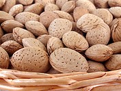 Basket filled with almonds