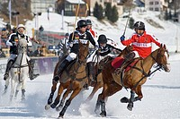 Polo Player during the Snow Polo World Cup 2011 Match Germany-Switzerland, St Moritz, Switzerland